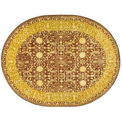 Silk Road Maroon/Ivory 4 ft. 6 in. x 6 ft. 6 in. Oval Area Rug