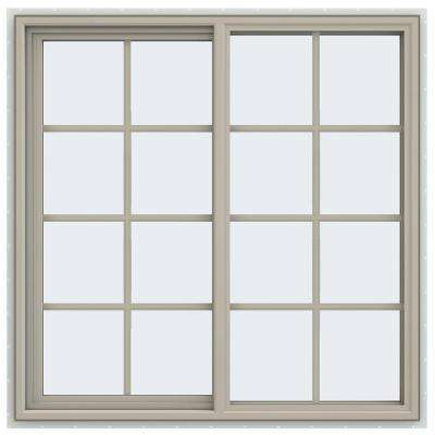 47.5 in. x 47.5 in. V-4500 Series Left-Hand Sliding Vinyl Window with Grids - Tan
