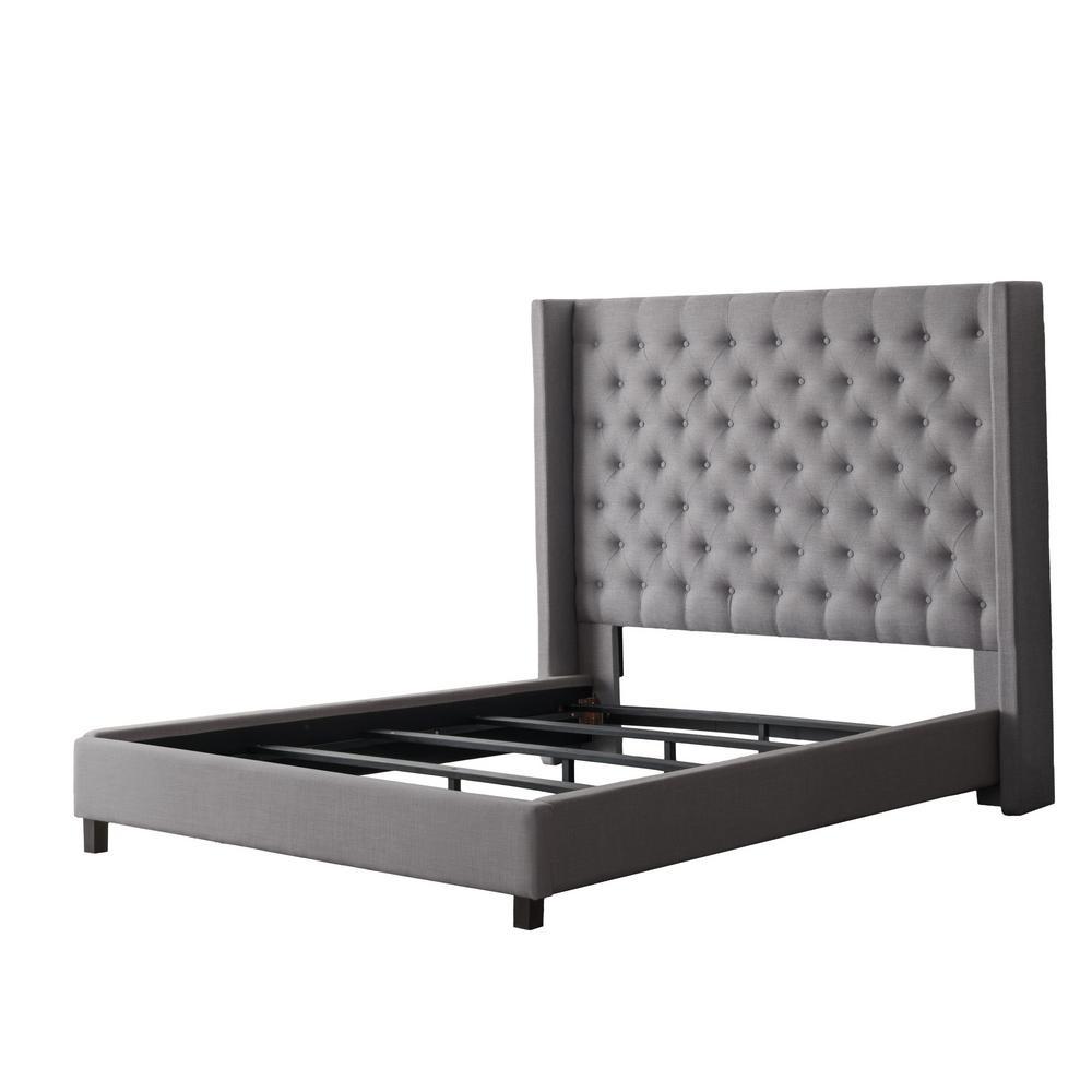 grey queen bed CorLiving Fairfield Grey Tufted Fabric Queen Bed with Wings BBT  grey queen bed