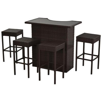 5-Piece Metal Rectangle Bar Height Outdoor Serving Bar Set with 4-Chairs and Glass Tabletop