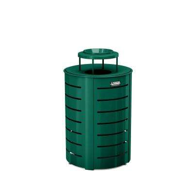 35 Gal. Green Metal Commercial Trash Can with Lid