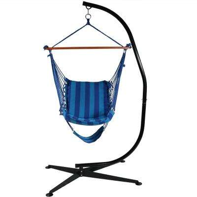 3.5 ft. Fabric Hanging Soft Cushioned Hammock Chair and Footrest with Stand in Beach Oasis