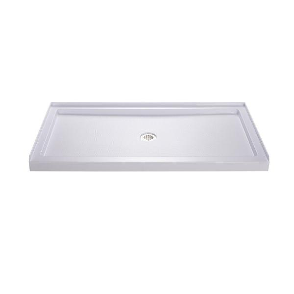 SlimLine 32 in. D x 60 in. W Single Threshold Shower Base in White