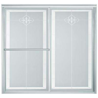 Deluxe 59-3/8 in. x 56-1/4 in. Framed Sliding Tub Door in Silver with Handle