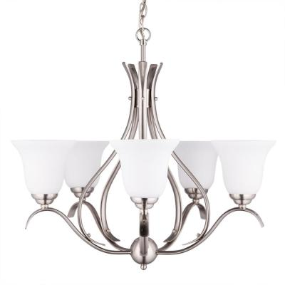 5-Light Brushed Nickel Chandelier with Etched Opal Glass Shade