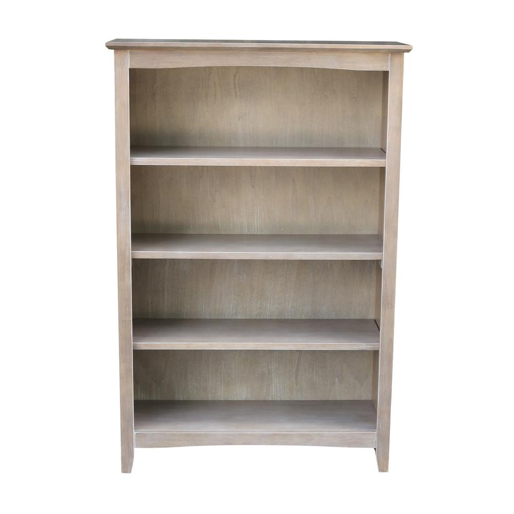 48 in. Weathered Gray Taupe Wood 4-shelf Standard Bookcase with Adjustable Shelves