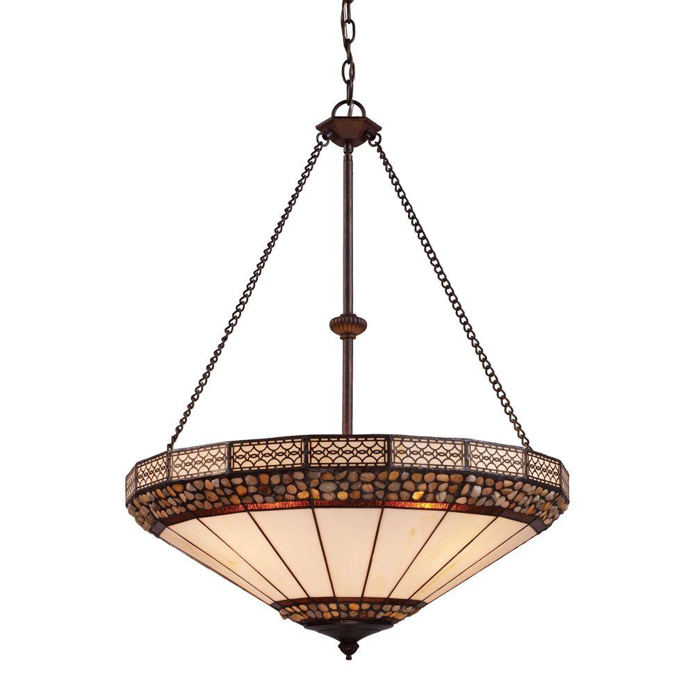 Titan Lighting 4-Light Burnished Copper Ceiling Mount Pendant-DISCONTINUED