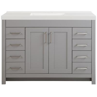 Westcourt 49 in. W x 22 in. D Bath Vanity in Sterling Gray with Cultured Marble Vanity Top in White with White Sink