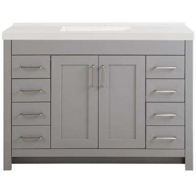 Westcourt 49 in. W x 22 in. D Vanity in Sterling Gray with Cultured Marble Vanity Top in White with White Sink