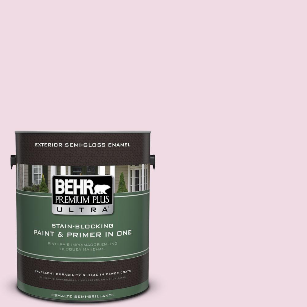 BEHR Premium Plus Ultra 1-gal. #M130-1 Pink Posies Semi-Gloss Enamel Exterior Paint