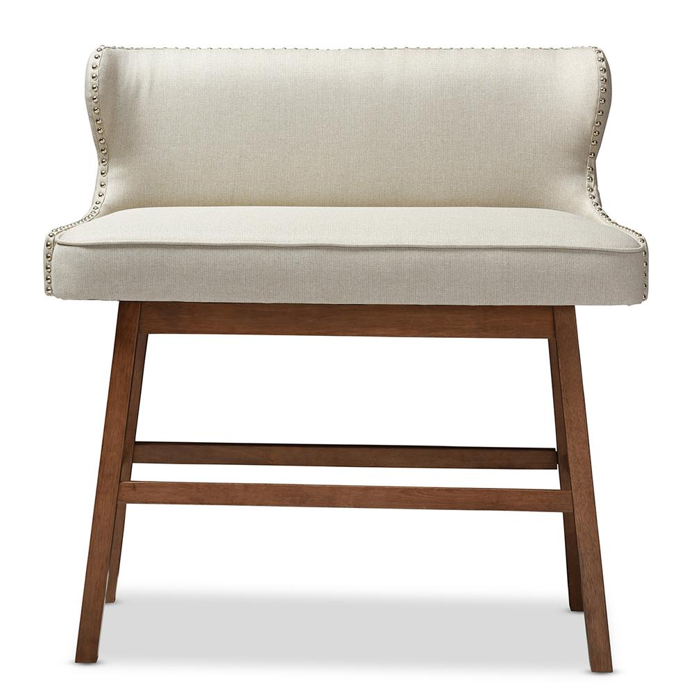 Upholstered Bench Beige: Baxton Studio Gradisca Beige Fabric Upholstered Bar Bench