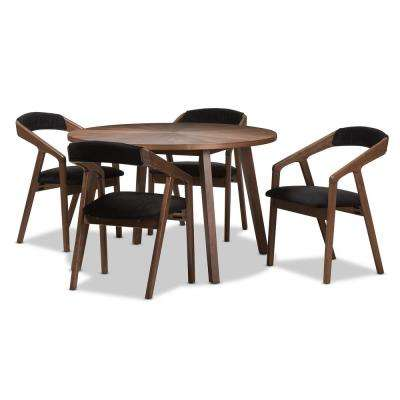 Wendy 5 Piece Dark Grey And Walnut Brown Dining Set