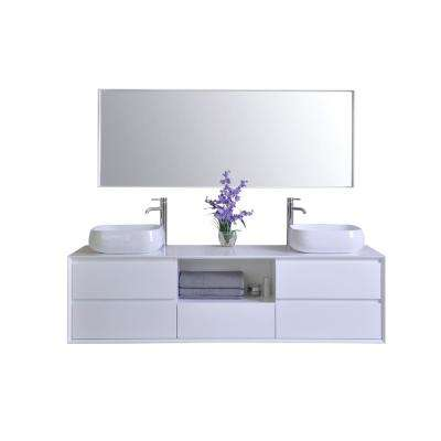 Catherine 72 in. W x 18 in. D Vanity in White with Solid Surface Vanity Top in White with White Basins and Mirror
