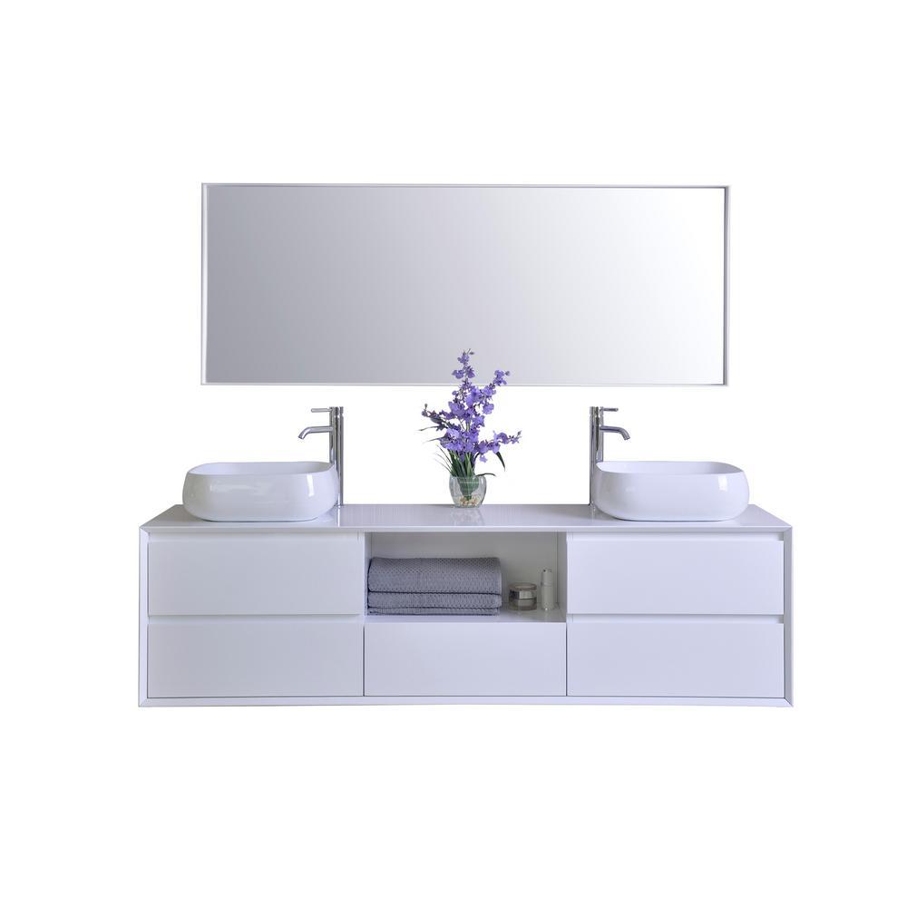 Ancerre Designs Vanity White Solid Surface Vanity Top White Basins Mirror