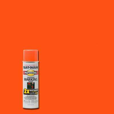 15 oz. Fluorescent Orange 2X Distance Inverted Marking Spray Paint (6-Pack)
