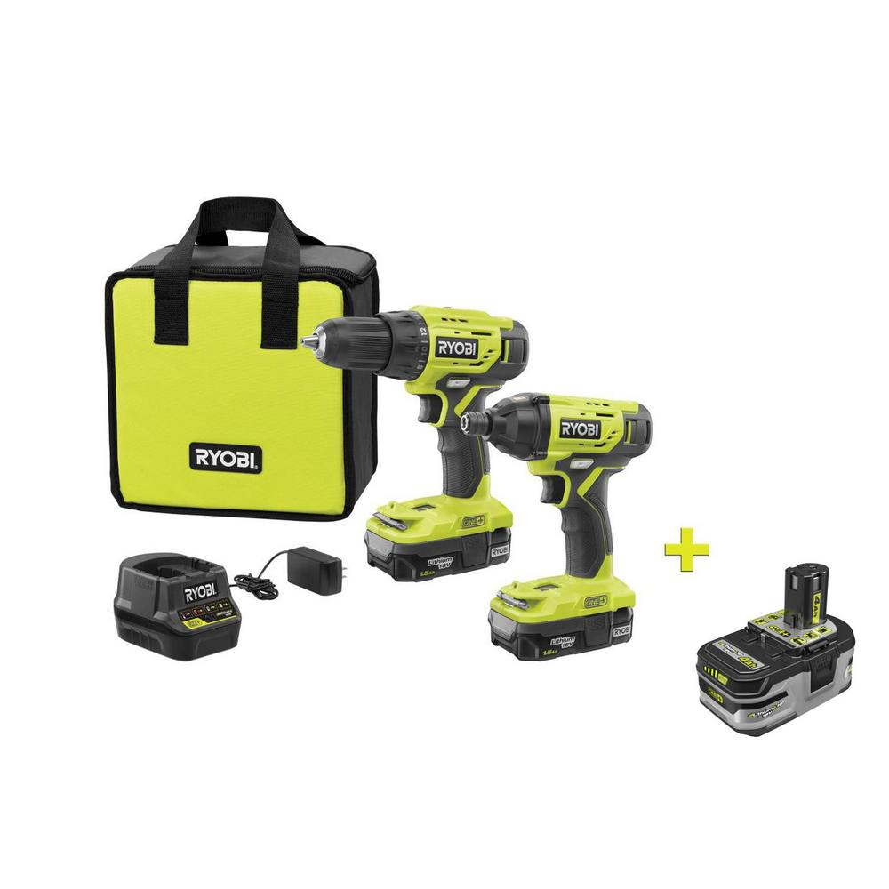 RYOBI 18-Volt ONE+ Lithium-ion Cordless 2-Tool Combo Kit with Free 18-Volt ONE+ 4.0 Ah LITHIUM+ HP High Capacity Battery