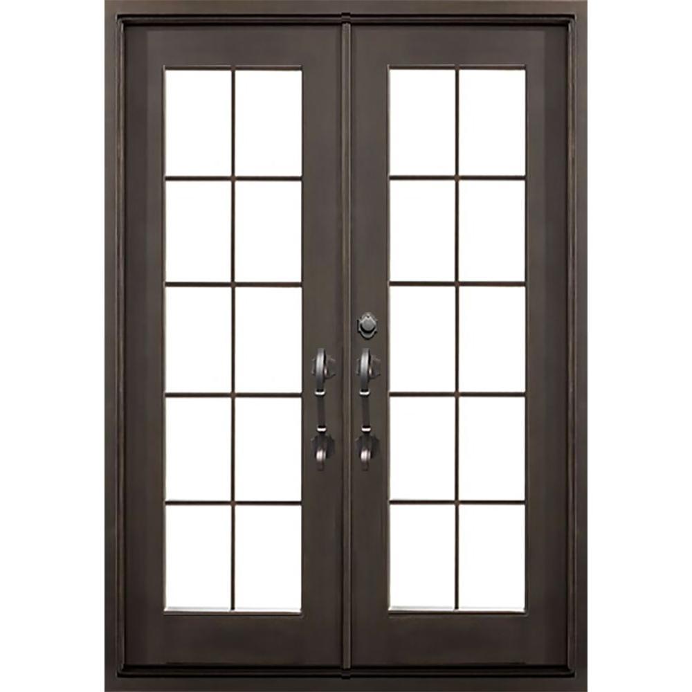 ALLURE IRON DOORS & WINDOWS 64 in. x 82 in. Key Largo Dark Bronze Classic Full Lite Painted Wrought Iron Prehung Front Door (Hardware Included)