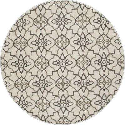 New Casa Trellis Grey 8 ft. x 8 ft. Round Area Rug