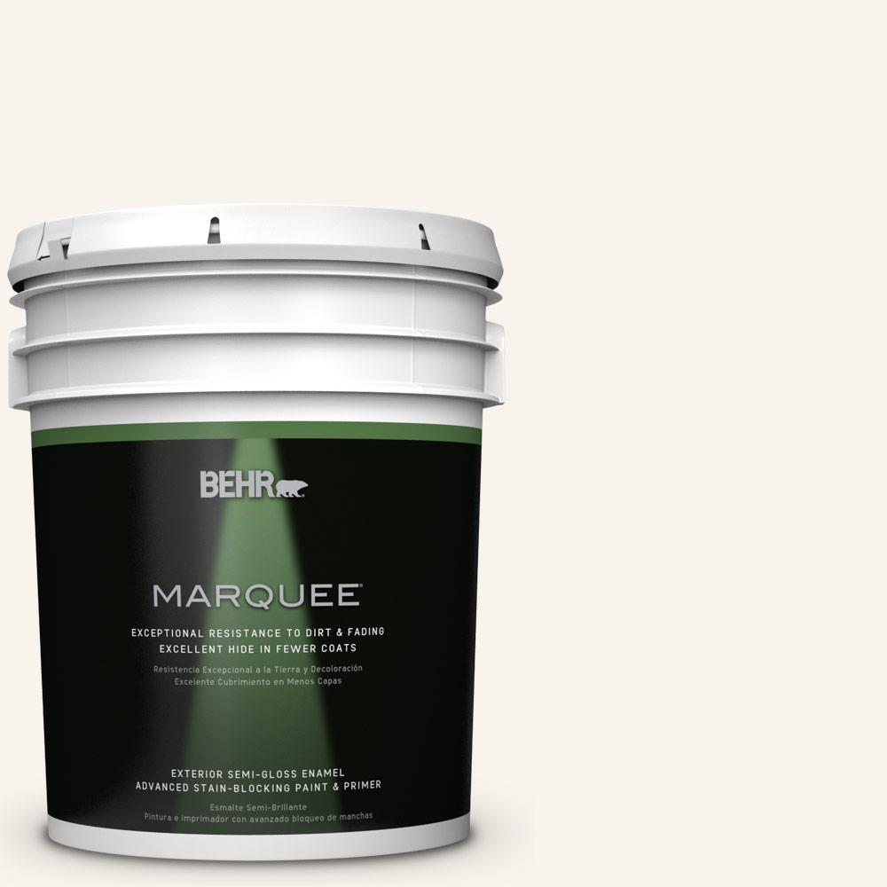 BEHR MARQUEE 5-gal. #W-D-700 Powdered Snow Semi-Gloss Enamel Exterior Paint