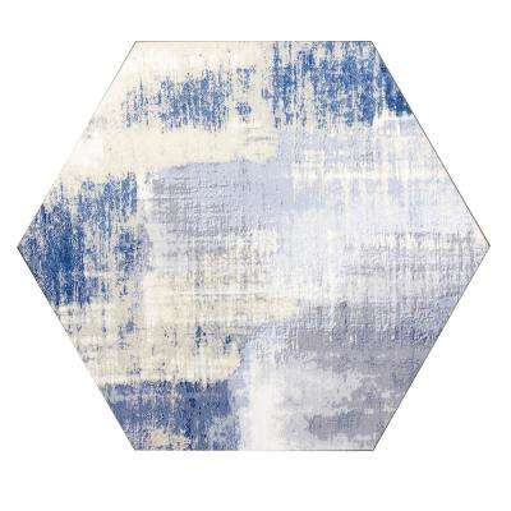 Hexagon 8 in. x 8 in. Blue Matte Stone Look Glass  Decorative Bathroom Wall Tile Backsplash (1 Piece)