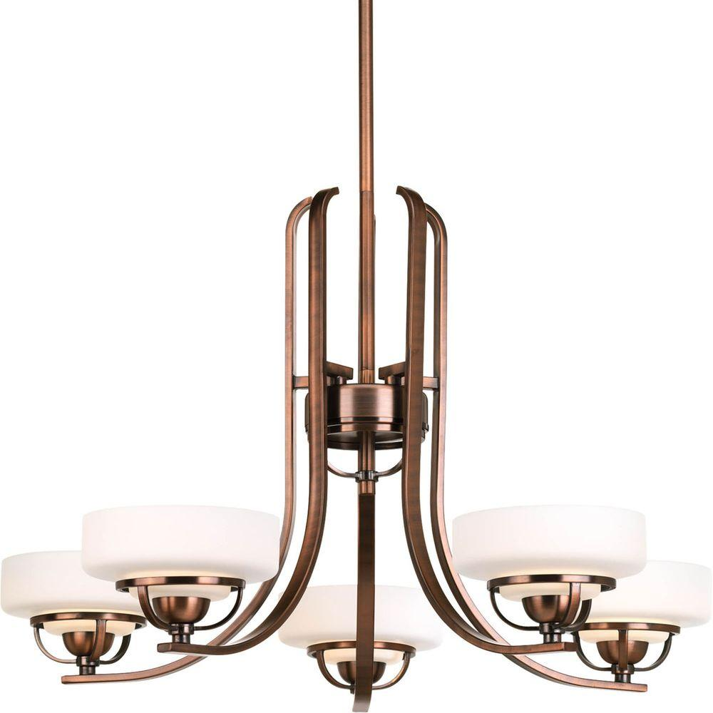 Progress Lighting Torque Collection 5-Light Copper Bronze Chandelier