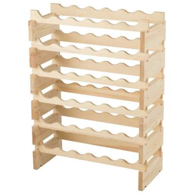36-Bottles Natural Stackable Wooden Wobble-Free Modular Wine Rack