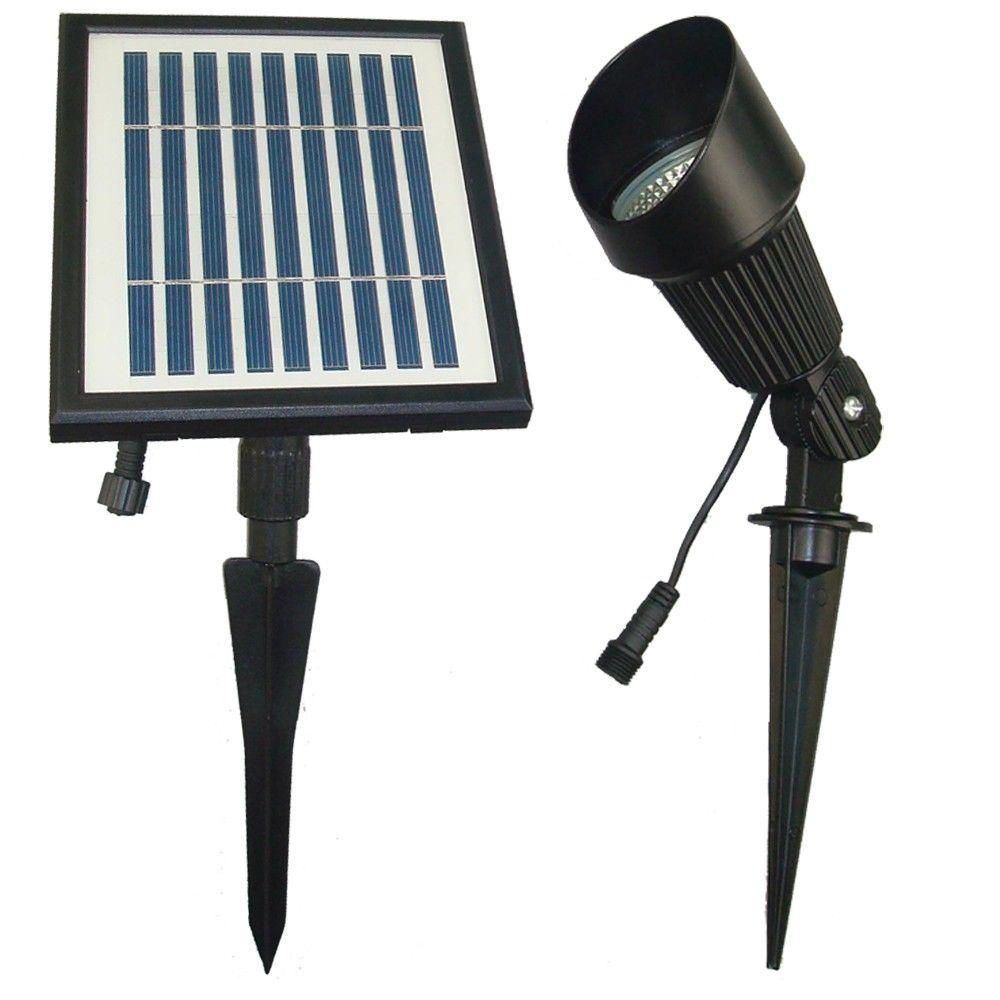 Solar Goes Green Ed Black Outdoor Spotlight With 12 Bright White Leds