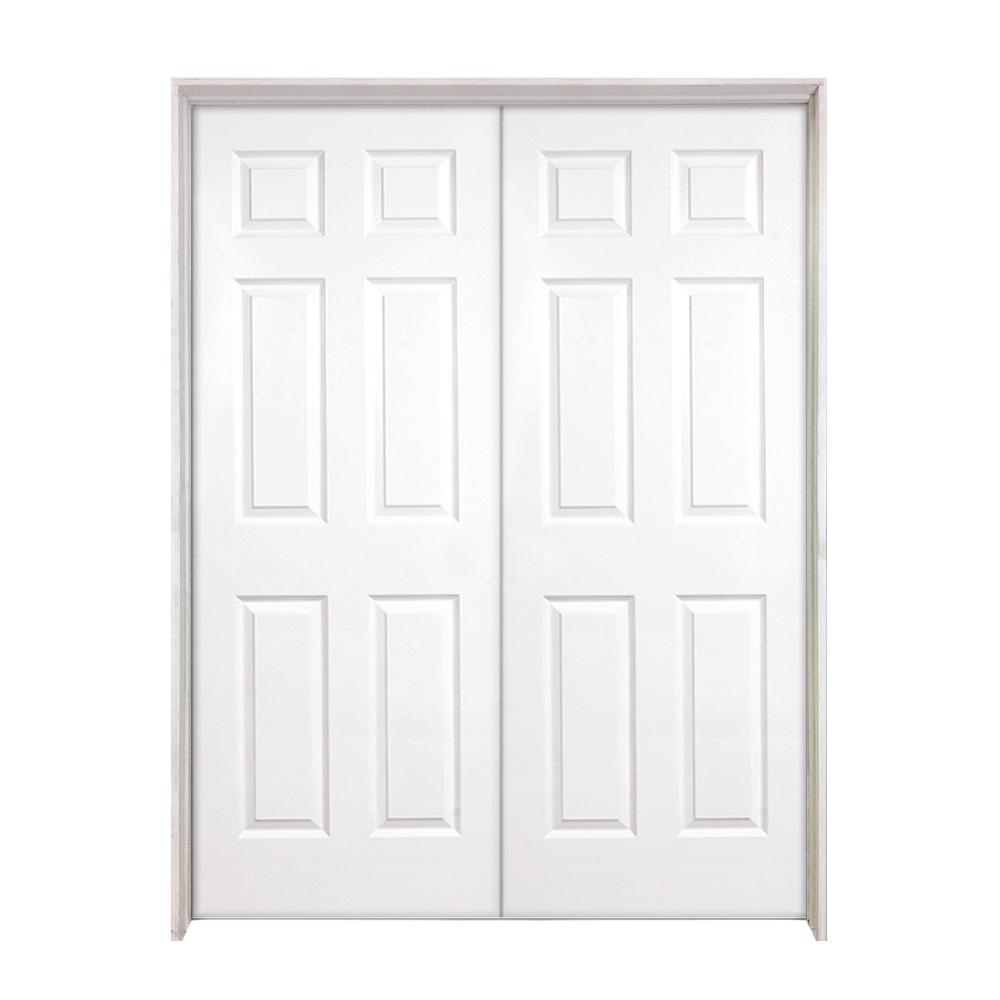 Steves Sons 48 In X 80 In 6 Panel Textured Hollow Core Primed White Composite Double Prehung Interior Door W626wwadaedr The Home Depot