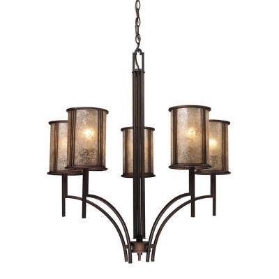 Barringer 5-Light Aged Bronze Chandelier With Tan Mica Shades