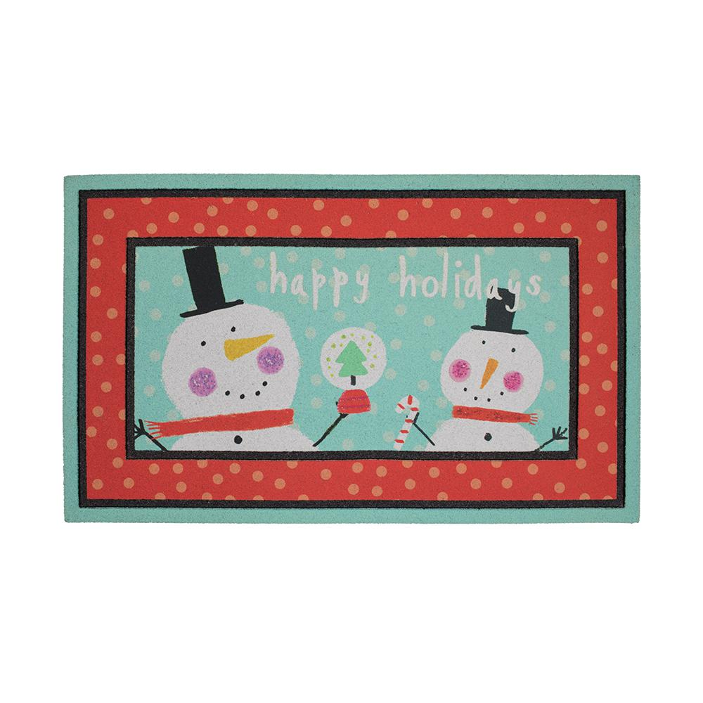 Celebrates Snowman 18 in. x 30 in. Recycled Rubber Holiday Mat