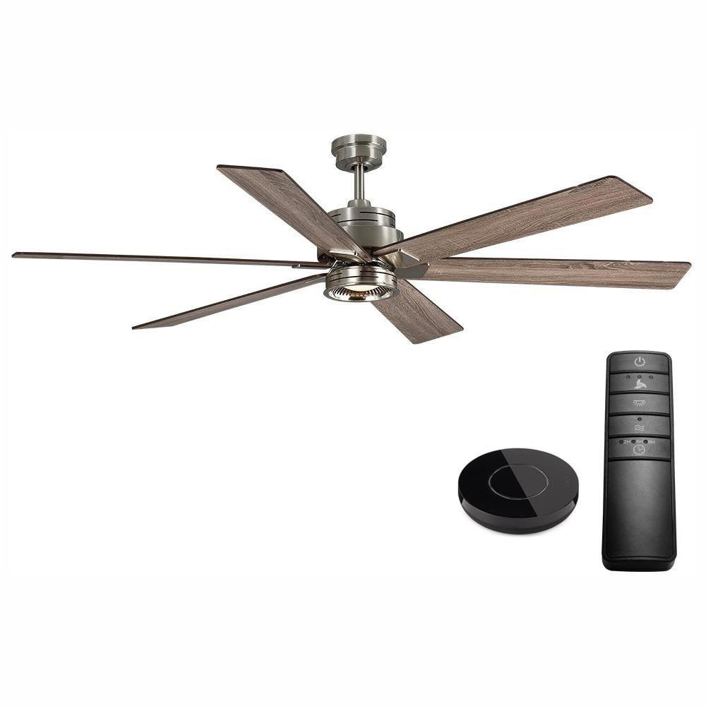 Home Decorators Collection Statewood 70 in. LED Brushed Nickel Ceiling Fan Works with Google Assistant and Alexa