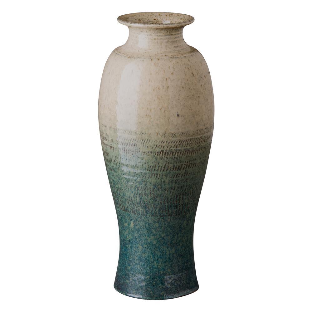 Tall Shoulder Bayside Green Ceramic Vase