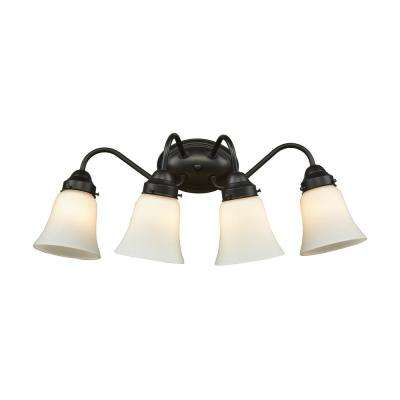 Califon 4-Light Oil Rubbed Bronze With White Glass Bath Light