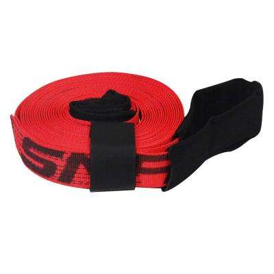 2 in. x 30 ft. x 10,000 lb. Tow and Lifting Strap with Hook and Loop Storage Fastener in Red