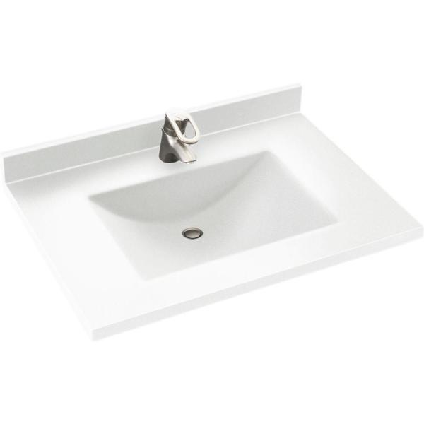 Contour 37 in. W x 22 in. D Solid Surface Vanity Top with Sink in White