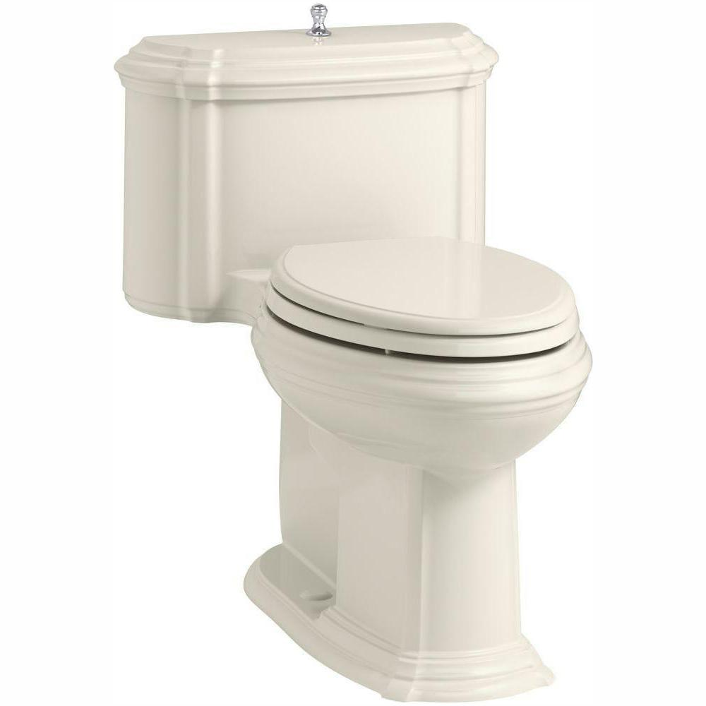KOHLER Portrait 1-piece 1.28 GPF Single Flush Elongated Toilet with AquaPiston Flush Technology in Biscuit, Seat Included