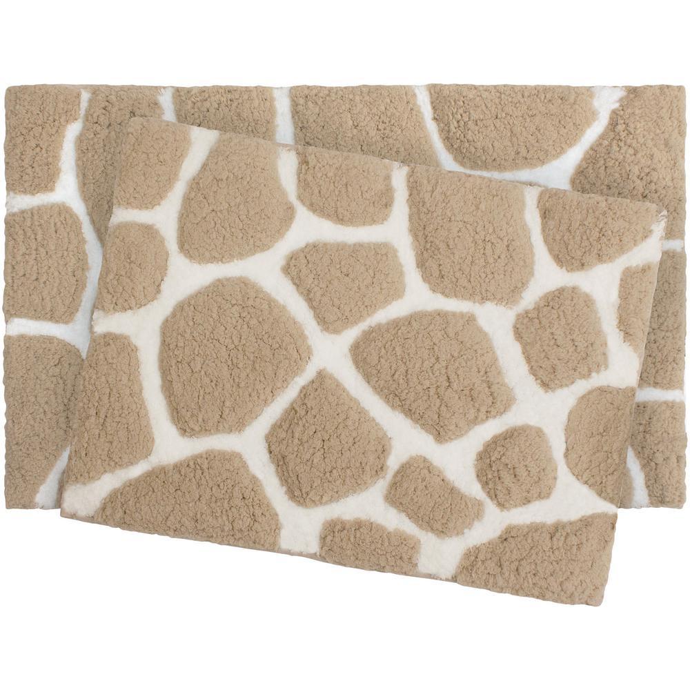 Microfiber Pebble 17 in. x 24 in./20 in. x 32 in. 2-Piece Bath Rug Set, Linen/White