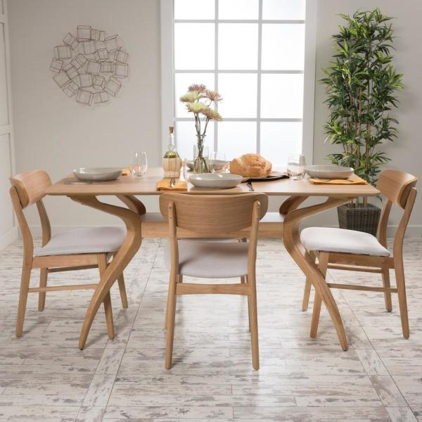 Lucious 5-Piece Light Beige and Natural Oak Dining Set