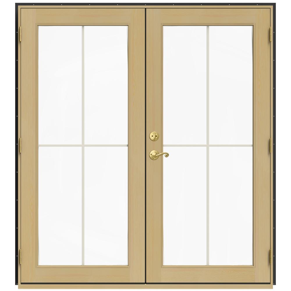 72 in. x 80 in. W-2500 Bronze Clad Wood Left-Hand 4 Lite French Patio Door w/Unfinished Interior