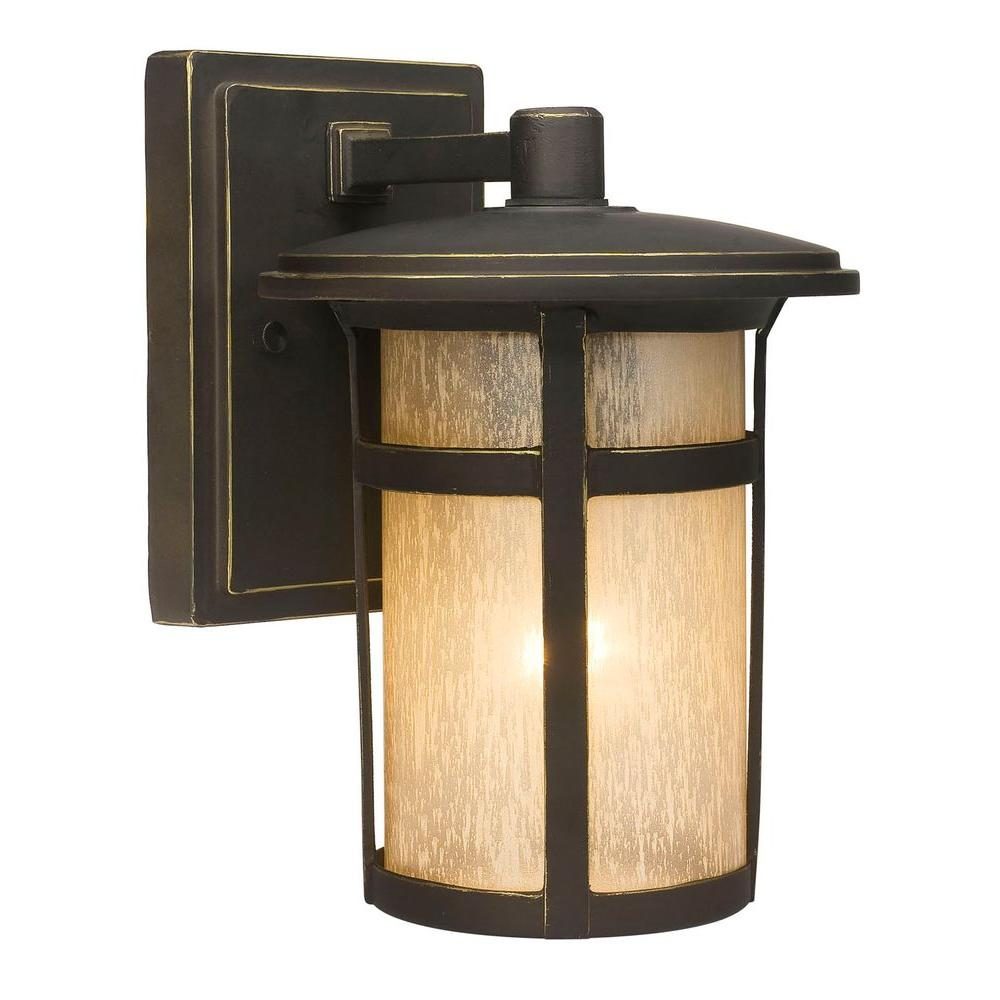 Round Craftsman 1-Light Dark Rubbed Bronze Outdoor Wall Lantern
