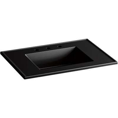 Ceramic/Impressions 31 in. W Rectangular Vanity Top with 8 in. Widespread Faucet Holes in Black Black