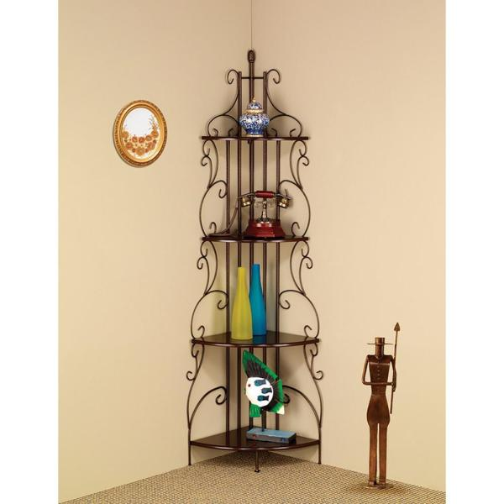 Benzara Wall Mounted Copper Traditional 4-Tier Metal Corner Shelf Bookcase