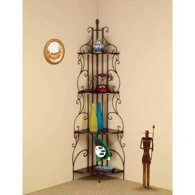 Wall Mounted Copper Traditional 4-Tier Metal Corner Shelf Bookcase