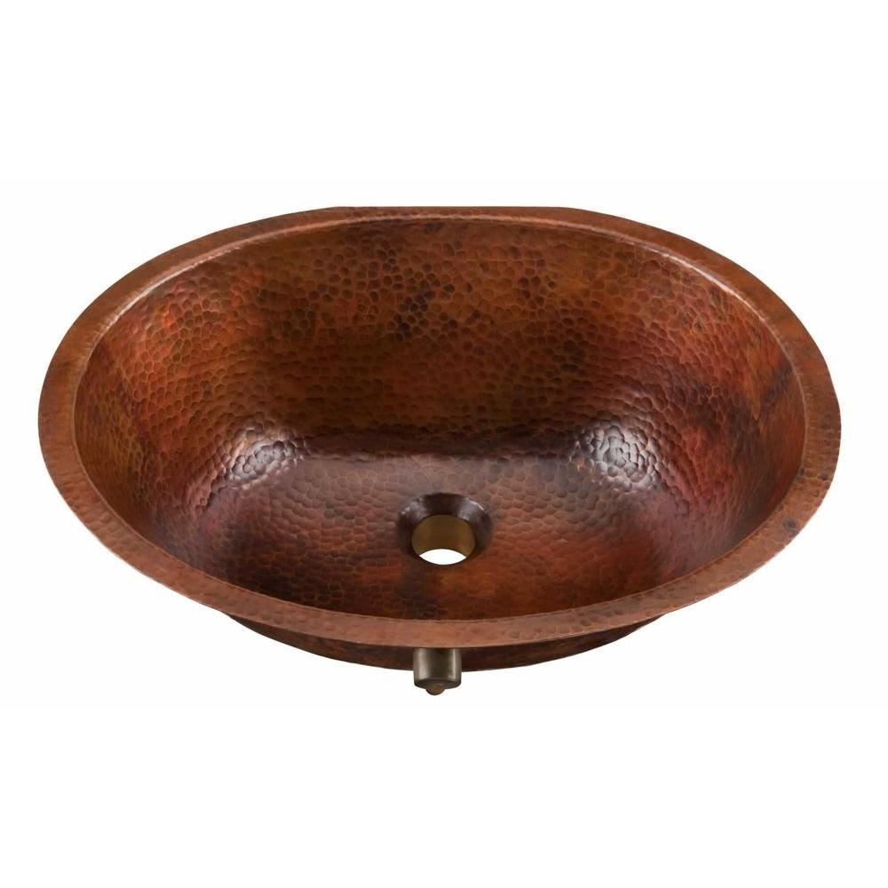 SINKOLOGY Freud Undermount Handmade Pure Solid Copper Bathroom Sink with Overflow in Aged Copper