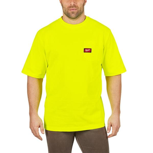 Men's 3X-Large High Visibility Heavy Duty Cotton/Polyester Short-Sleeve Pocket T-Shirt
