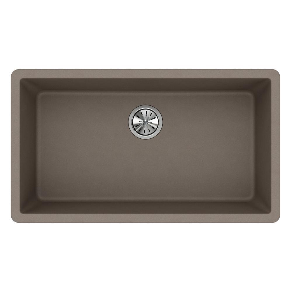 Quartz Classic Undermount Composite 33 in. Single Bowl Kitchen Sink in Greige