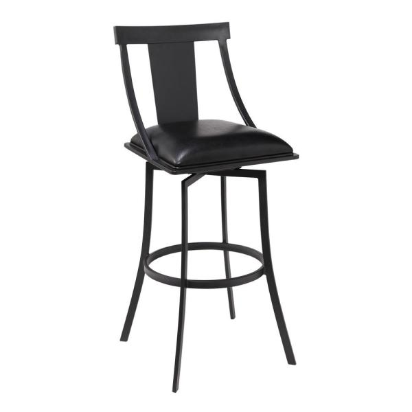 Armen Living Brisbane Contemporary 26 in. Matte Black and Black Faux