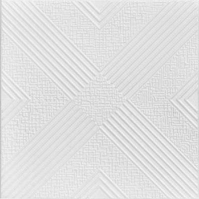 Hidden Treasure 1.6 ft. x 1.6 ft. Foam Glue-up Ceiling Tile in Plain White (21.6 sq. ft. / case)
