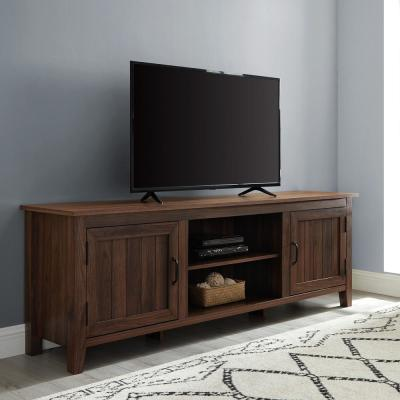 70 in. Dark Walnut Composite TV Stand Fits TVs Up to 78 in. with Storage Doors