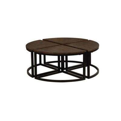 Arcadia Antiqued Mocha Acacia Wood Set of 4 Round Wedge Tables